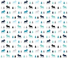 Moose Trot in Sea Glass Quilting Fabric. Fabric by JacksonsWovens Woodland Fabric, Quilting Fabric, Sea Glass, Moose, Quilts, Unique Jewelry, Handmade Gifts, Vintage, Etsy