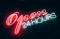 Open 24 Hours Sign by Inspirationfeed on @creativemarket