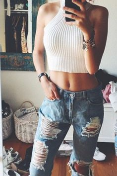 fashion♡Jewel Neck Solid Color Knitted Crop Top