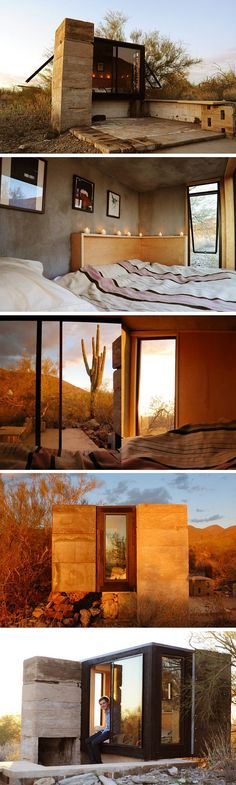 Escape the Blah of winter with these popular desert travel destinations The Miners Shelter, a 45 sq ft retreat in the Arizona desert Cabin Design, House Design, Exterior Design, Interior And Exterior, Tiny House, Adobe House, Desert Homes, Cabin Homes, Prefab