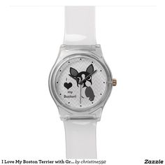 I Love My Boston Terrier with Gray Chevron Pattern Wristwatches