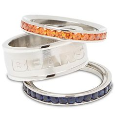 Chicago Bears Logo Crystal Stacked Ring Set (Size 8)