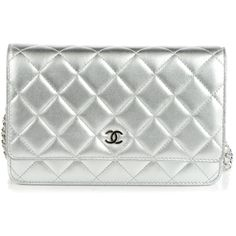 CHANEL Metallic Lambskin Quilted Wallet On Chain WOC Silver ❤ liked on Polyvore featuring bags, wallets, chanel, silver wallet, quilted wallet, magnet wallet and white wallet