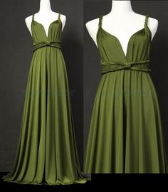 Bridesmaid Dress Olive Green Maxi Dress Wedding Dress Wrap Convertible Dress Infinity Party Prom