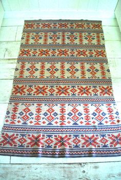 Vintage Woven Blanket throw Tribal Southwest Native by FadedSummer