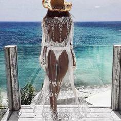 Costbuys Bikini-Cover Bathrobe Beachwear Cover-Ups Floral Chiffon Cardigan Long-Lace Sexy Women Womens Cover Up Summer Push Up Bikini, Brasilianischer Bikini, Bikini Cover Up, Bikini Beach, Swimsuit, Chiffon Cardigan, Chiffon Kimono, Chiffon Floral, Bathing Suit Covers