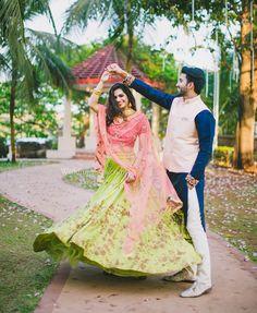 A lemon green & pink lehenga by Shyamal & Bhumika at WeddingSutra Bridal Diaries. Indian Wedding Pictures, Wedding Dresses Men Indian, Wedding Outfits For Groom, Indian Wedding Couple Photography, Wedding Couple Photos, Wedding Pics, Engagement Photo Poses, Engagement Outfits, Bridal Looks