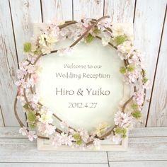 【ウェルカムボード】桜リース Wedding Images, Diy Wedding, Wedding Reception, Flower Frame, Flower Crown, Love Flowers, Paper Flowers, Wedding Welcome Board, Wedding Bouquets
