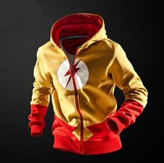 Yellow The Flash hoodie for teens zip hooded sweatshirts