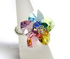 Swarovski ring Rainbow Heart Swarovski Crystal Ring by candybead