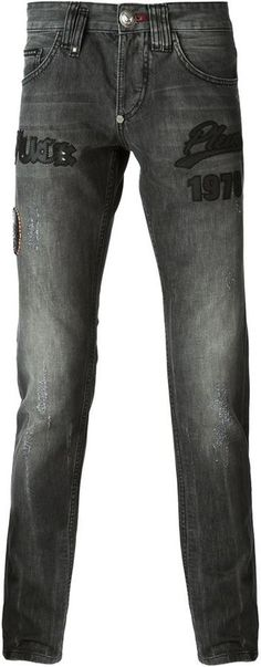 $611, Slim Fit Patchwork Jeans by Philipp Plein. Sold by farfetch.com. Click for more info: http://lookastic.com/men/shop_items/131459/redirect