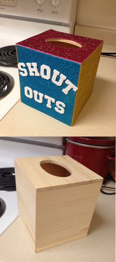 """Create a """"Shout Outs"""" box using a plain kleenex box covered in glitter craft foam. Students write compliments to each other on slips of paper and then read them aloud once a week. Students love it!"""