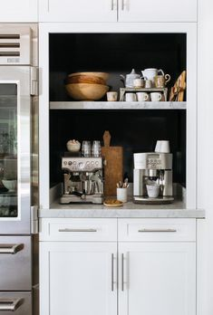Beautifully organized and curated coffee station by Heather Bullard. Coffee Station Kitchen, Coffee Bar Home, Home Coffee Stations, Kitchen Pantry, Kitchen Dining, Kitchen Decor, Tidy Kitchen, Cuisines Design, Beautiful Kitchens