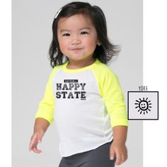 """""""I Live in a Happy State"""" Raglan Infant Tee - Neon Yellow/White"""