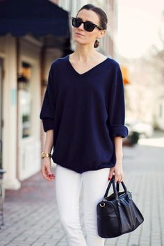 Navy blue oversized boyfriend sweater. Great with white jeans. Love the bag too. -Deborah Jaffe
