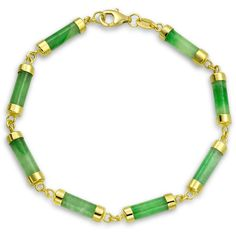 Sterling Silver Dyed Green Jade Link Bracelet Gold Plated ($50) ❤ liked on Polyvore featuring jewelry, bracelets, green, link-bracelets, gold plated jewelry, green jewelry, sterling silver jewellery, jade jewellery and green jade jewelry