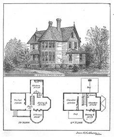 Vintage Illustration   Victorian Floor Plan