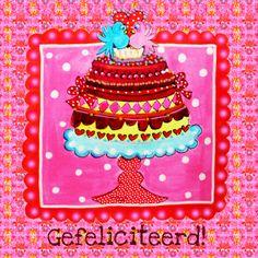 Felicitatiekaart Feesttaart PA, verkrijgbaar bij #kaartje2go voor €1,99