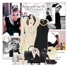 """""""Audrey Hepburn:Little black dress"""" by artifashion-intelligence ❤ liked on Polyvore featuring Beautiful People, Miu Miu, Tiffany & Co., Chanel, Givenchy, Retrò, Agent Provocateur, Christian Dior, Guerlain and LittleBlackDress"""
