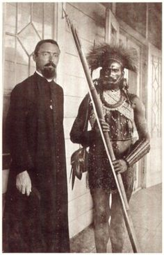 Father (pater) Zegwaard from The Netherlands, with a local friend, in Asmat (Indonesia).