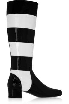 Saint Laurent Striped patent-leather knee boots | THE OUTNET- $1,107