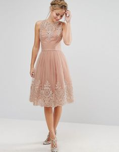 Chi Chi London Premium Lace Midi Dress with Scalloped cut-out Back - Color is ROSE-NUDE | us.asos dot com