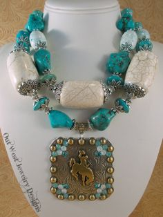 Cowgirl Necklace Set  Chunky Aqua and White Howlite Turquoise by Outwestjewelry