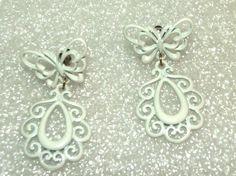 Fashion Women's White Lacy Butterfly Dangle Pierced Earrings #Unbranded