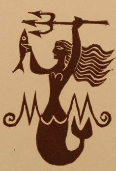 Art by Ladislav Rusek, 1973, Maria Mala's Ex Libris, Czech Republic, Linocut. #Mermaid