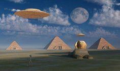 Artists concept of Grey aliens helping the Egyptians build the pyramids Canvas Art - Mark StevensonStocktrek Images x Gray Grey Alien, Poster Size Prints, Art Prints, Ancient Civilizations, Egyptians, Giza, Night Skies, Archaeology, Canvas Art