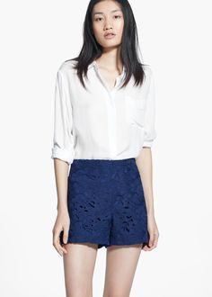 High-waist guipure shorts
