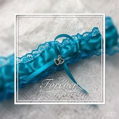 Hen Wedding Garter Teal Lace Satin Ribbon 2 Hart Charm Made In Uk  | eBay