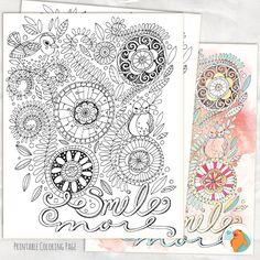 Adult Coloring Page, Smile More, Instant Download Colouring Page Printable, DIY Print, Quick Last Minute Gift for a Friend,  JPG, PDF by FishScraps on Etsy