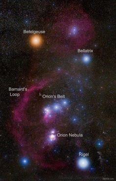 Do you recognize this constellation? Although it is one of the most recognizable star groupings on the sky, Orion's icons don't look quite as colorful to the eye as they do to a camera. In this 20-image digitally-composed mosaic, cool red giant Betelgeuse takes on a strong orange tint as the brightest star at the upper left. Orion's hot blue stars are numerous, with supergiant Rigel balancing Betelgeuse at the lower right, and Bellatrix at the upper right Lined up in Orion's belt are three…