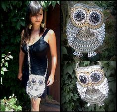 Owl Project. Handbags and backpacks made with recycled material. Check out the photos.