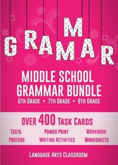 This bundle covers every aspect of grammar and language for sixth, seventh, and eighth grades. This is the ultimate middle school grammar bundle.   With this grammar bundle, you can meet all middle school language standards in a variety of ways, plus have review that middle schoolers often need.