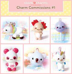 Polymer Clay Charm Commissions by Oborochann