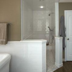 Walk-in Shower, subway tile, hardwood tile