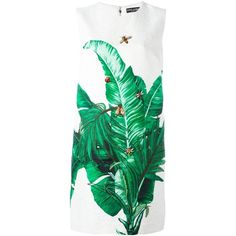 Dolce & Gabbana Sleeveless Dress With Leaves Print ($3,030) ❤ liked on Polyvore featuring dresses, white, short dresses, embroidered dress, sleeveless short dress, short white dresses and straight dress