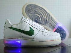 sports shoes c0e75 984da Nike Air Force One Light Up White Pine Green Shoes