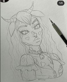 Girl Drawing Sketches, Pencil Art Drawings, Psychedelic Drawings, Cartoon Art Styles, Grunge Art, Fantasy Drawings, Aesthetic Art, Art Sketchbook, Cute Art