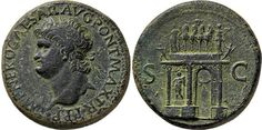 NERO 64-68CE Sestertius Lugdunum mint: IMP NERO CAESAR AVG PONT MAX TR P P P: Head of Nero, laureate, left; small globe at point of neck / S C: View of triumphal arch, showing front and left hand side; above, the Emperor in a quadriga escorted by Victory; arch is heavily ornamented and decorated with statues of Pax, Mars and two soldiers