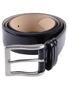 The expertly made black leather belt has a curved angular silver buckle and four way split belt loop. Black Leather Belt, Black Belt, Patent Leather, Occasion Wear, Silver, Men, Accessories, Clothing, Outfits
