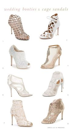Bridal boots and cage sandal wedding shoes | Collage of wedding boots by @dressforthewed