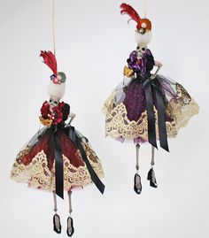 "Katherine's Collection Venetian Masquerade Halloween Collection Set Four Approx 14"" Dangling Skeleton Ornaments Free Ship"