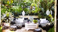 Tour the Ultimate Designer Dream Home// Martyn Lawrence-Bullard, chevron pillows, Moroccan lanterns, courtyard design