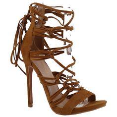 "Shoe Republic LA Open toe Sandal Strappy Stiletto High Heels Lace up Pumps Women's shoes chestnut size 8. 4.5"" Heel approx measurement. Open toe, strappy design, lace up style. Vegas suede, single sole, rear zipper closure. Available in black and chestnut. Brand: Shoe Republic LA, style name: Cambriel. True to size."
