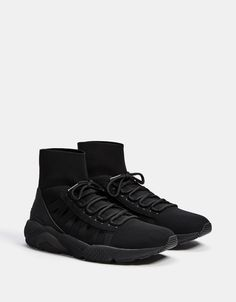 Bershka high-top sock sneakers with technical sole