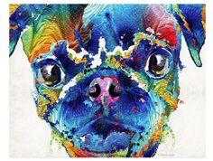 Colorido Pug perro arte grabado pintura por BuyArtSharonCummings
