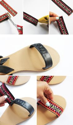 9 Super Comfortable DIY Sandals for Chic Womens Crochet Shoes Pattern, Shoe Pattern, Bling Shoes, Glitter Shoes, Pink Glitter, Boho Sandals, Studded Sandals, Diy Fashion, Fashion Shoes